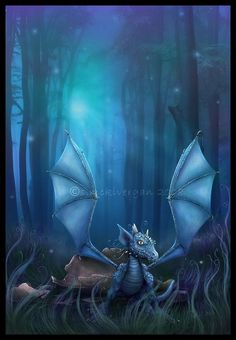 Baby Blauer Drache Dragon Hatchling Egg Baby Babies Cute Funny Humor Fantasy Myth Mythical Mystical Legend Dragons Wings Sword Sorcery Magic Art Fairy Maiden Whimsy Whimsical Drache drago dragon Дракон  drak dragão
