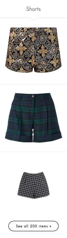 """""""Shorts"""" by melzy ❤ liked on Polyvore featuring shorts, bottoms, pants, sequin hot pants, micro mini shorts, hot short shorts, gold shorts, print shorts, green and green shorts"""