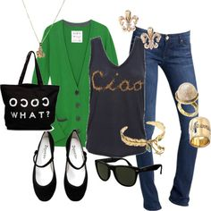 kelly green cardigan, tee, jeans, flats and accessories Emerald Green Top, Green Cardigan, Suede Flats, Comfy Casual, Kelly Green, Green Tops, Fashion Looks, Tank Tops, Tees