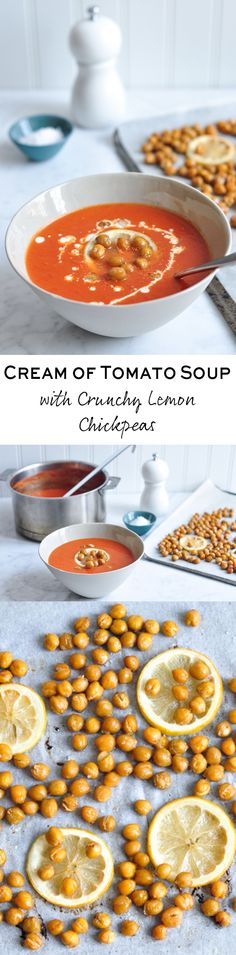 A quick and delicious Cream of Tomato Soup with Roasted Chickpeas. Soup Recipes, Vegetarian Recipes, Cooking Recipes, Healthy Recipes, Healthy Food, Cream Of Tomato Soup, Nutritious Meals, Soup And Salad, Main Meals