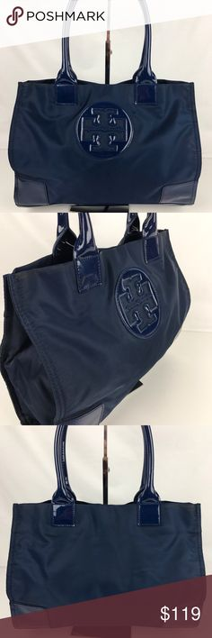 """Tory Burch 'Mini Ella' Nylon Tote French Navy Authentic. Gently used. Wear on handle edge in a couple of spots and some light marks on plastic. Overall good condition.   The lightweight nylon Ella tote combines practicality with polish.Magnetic snap closure; lined. Int zip pocket, 2 int slip pockets. Expandable sides with snap closure. 13""""W x 5""""D x 9""""H; 6.5"""" handle drop. Style 50009835. RB427.  Thank you for your interest!   PLEASE - NO TRADES / NO LOW BALL OFFERS / NO OFFERS IN COMMENTS…"""