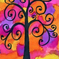 Klimt Watercolor Tree