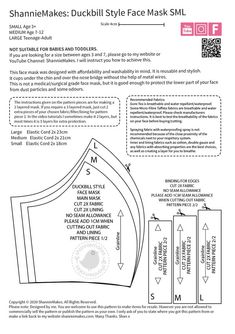 Duckbill Style Face Mask Pattern mask diy mask filter mask free printable mask homemade mask how to make one mask pattern Sewing Hacks, Sewing Tutorials, Sewing Projects, Hair Tutorials, Sewing Tips, Sewing Crafts, Easy Face Masks, Diy Face Mask, Homemade Face Masks