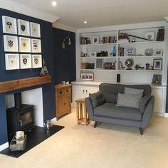 Navy Living Rooms, New Living Room, Living Room Sofa, Living Room Decor, Navy Blue And Grey Living Room, Cozy Living, Apartment Living, Grey Living Room Ideas Color Schemes, Living Room Inspiration