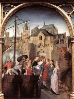 St Ursula Shrine: Arrival in Cologne (scene 1) 1489. Oil on panel, 35 x 25,3 cm. Memlingmuseum, Sint-Janshospitaal, Bruges