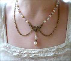 Victorian Pearl Necklace, Earrings Jewelry SET Beaded Crystals, Filigree Pearl Drop Vintage Style Swag Bridal Wedding Necklace. $58,00, via Etsy.