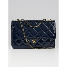 Pre-owned Chanel Dark Blue Quilted Patent Leather Eyelet WOC Clutch... ($1,995) ❤ liked on Polyvore featuring bags, handbags, clutches, chanel clutches, chain strap handbag, quilted handbags, chain purse and chanel purse
