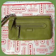 'Coach Green Leather Double Zip Wallet NWT' is going up for auction at  1pm Sun, Oct 27 with a starting bid of $1.