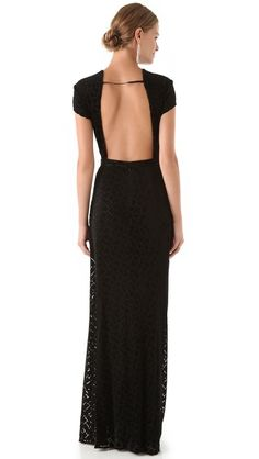 ISSA Puzzle Velvet Open Back Gown