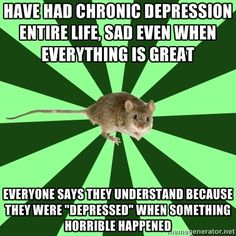 Poor little mouse! Being depressed is not being sad! It goes beyond that and you CAN'T understand if you haven't lived it! Please don't patronize a depressed person by saying you understand because you have been sad!