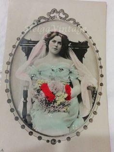 Vintage German hand tinted photo-postcard with beautiful bride Photo Dover St. Photo Postcards, Vintage Postcards, Vintage Photos, First Photo, Beautiful Bride, Snow Globes, German, Rose, Wedding