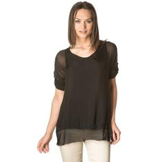Black adjustable sleeves silk blouse