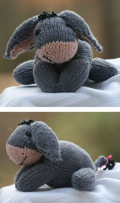 Free Knitting Pattern for Eeyore - This toy donkey softie is inspired by the beloved Winnie the Pooh character. Designed by Lindsay Clare. Pictured project by RebekahBurroughs who reported that using US 5 needles her Eeyore was 3 3/4 inches high and 5 inches long