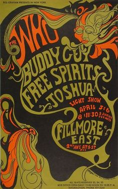 A poster from Art of the Fillmore, a collection of 230 vintage concert posters from the '60s, '70s, and '80s, commissioned by concert promot...