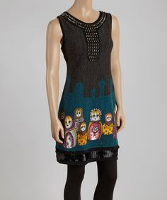 Loving this Black & Blue Abstract Studded Sweater Dress on #zulily! #zulilyfinds