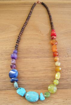 Rainbow Stone Gemstone Necklace - Wood - Bright Colourful Jewels - Fun Jewelry…