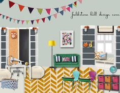"Design boards :: a colorful schoolroom, plus ""shop the room"" links"