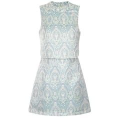 Pastel Baroque Cropped Mini Dress (£35) ❤ liked on Polyvore featuring dresses, daisy cleveland, pattern dress, patterned mini dress, short dresses, baroque print dress and short pastel dresses