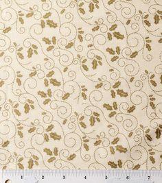 Holiday Inspirations-Holly Scroll Cream Metallic Fabric
