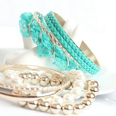 Korean Stylish Lace Style Multi Level Pearl Designed Alloy and Leather Rope Charming Blue Bracelets for Girls