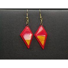 Caca, mooie rood/gele oorhangers