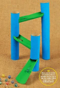 Use cardboard tubes to make a homemade marble run!