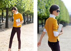 White turtleneck layered under a mustard short-sleeved crewneck (boxy) top with oxblood skinnies -Hanneli Mustaparta, via Hanneli