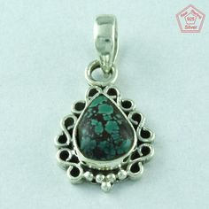 New Design 925 Sterling Silver Turquoise Stone Pendant Jewellery P2588…