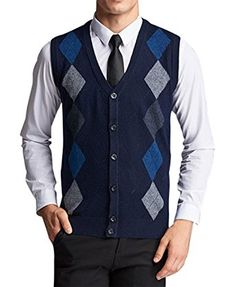 7ac9a501c6e92a Lyamazing Men s V-Neck Argyle Pattern Button Down Sweater Vest Cardigan  Review