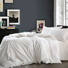 NTBAY Linen 3 Piece White Duvet Cover Set with Exquisite Ruffles, Breathable #NTBAY #Modern