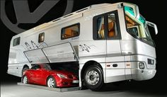 Getting away from it all doesn't mean leaving anything behind with the 12,3-meter Volkner Mobil Performance recreational vehicle that can carry an automobile inside its belly.