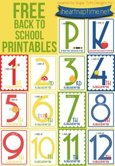 "FREE back to school printables for grades K-12. Take your child's ""first day of school picture"" with which grade they're in, so you can remember for years to come."