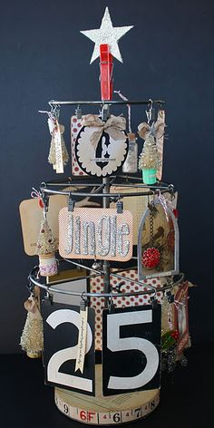 "Love this ""vintagey"" little Christmas tree using the 7gypsies ATC & photo display"