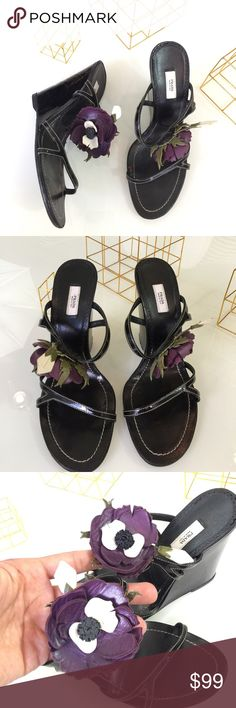 Prada Multi textured Flower Wedges Beautiful  patent leather with flower detail wedges. Flowers made of 100% leather and body of shoe patent leather. These beauties have been resoled and ready to wear. Worn but in great condition. Prada Shoes Wedges