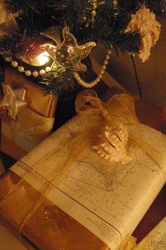 Everything Coastal....: Nautical Inspired Christmas Wrapping!