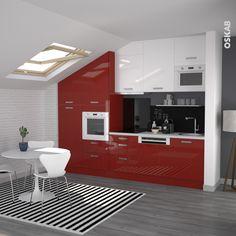 cuisine rouge et blanc au style design et pur implantation en i meubles hauts - Cuisine Rouge Plan De Travail Bois