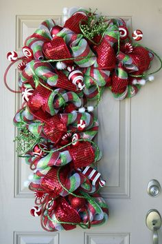 """Deco Mesh Christmas Candy Cane Wreath with """"Candy"""" Accents"""