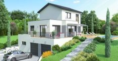Contemporary house made to measure, very steep ground Great Buildings And Structures, Modern Buildings, Modern Architecture, House In The Woods, My House, Villa Plan, Modern Minimalist House, Architect Design, Ideal Home