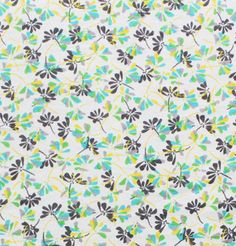Gray Blue Mod Fan Floral Cotton Jersey Blend Knit Fabric - A sweet mod inspired fan floral in retro cool colors of turquoise blue, green,  yellow, and light and charcoal gray on a white knit.  Fabric is a soft poly rayon cotton jersey blend, light to mid weight, with a nice stretch.  Biggest flower is 5/8