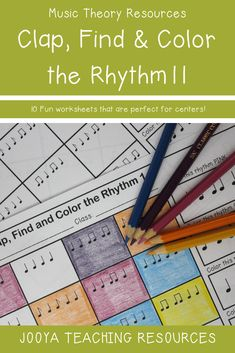 Try these 10 fun music rhythm theory worksheets. Included in Set 11 are quarter notes, eighth notes, sixteenth notes and syn-co-pa rhythms in four beat groupings. These printable activities can be use as part of a music center, homework or even as a small Music Theory Worksheets, Elementary Music Lessons, Middle School Music, Drum Lessons, Music Activities, Group Activities, Piano Teaching, Music Classroom, Music Education