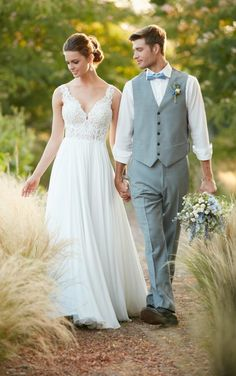 D2292 Beach Boho Chiffon Wedding Gown by Essense of Australia