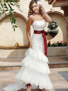 showy noble white wedding dress red ribbon $0.01~$1