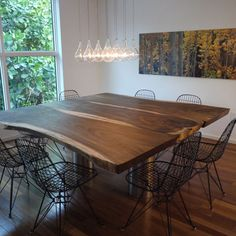 Double Pedestal Dining Table Dining Room Contemporary with Lights Metal Dining Chairs Modern Icons Pendant Square Dining Room Table, Wood Slab Dining Table, Metal Dining Chairs, Pedestal Dining Table, Dining Table Design, Square Tables, Extendable Dining Table, Console Table, Wood Tables