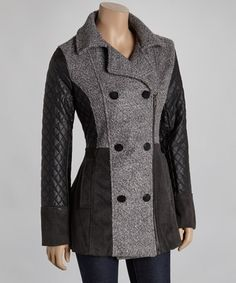 Charcoal & Black Wool-Blend Peacoat by Celsius