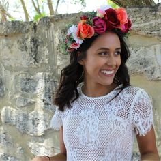 New for AGGIE + LOLA 2018,the Chelsea Flower Crown is a big, bold, beautiful crown created with deep red hues, oranges, pinks and leafy greens. This crown comes