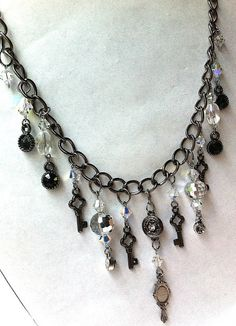 crystal gunmetal bling rocke... from BeadingByJenn on Wanelo