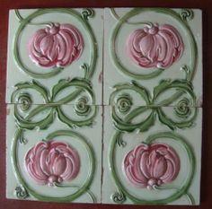 4 Antique Tile Set English Art Nouveau Embossed | eBay Azulejos Art Nouveau, Art Nouveau Tiles, Art Deco, Art Tiles, Antique Tiles, Fireplace Surrounds, Victorian Era, International Society, Pottery