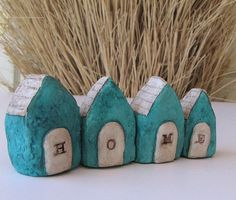 Your place to buy and sell all things handmade Art Houses, Clay Houses, Miniature Houses, Diy Paper, Paper Crafts, Diy Crafts, Teal Blue, Blue Green, Paper Mache Projects