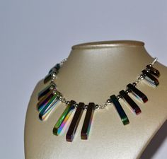 Art Deco Style, Rainbow Hematite, Graduated Necklace, Bead Collar, Elegant Jewelry, Great Gatsby Style, Statement Necklace, Rainbow Jewelry