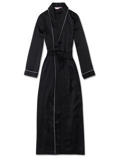 a0d9dfa4fc Women s Full Length Dressing Gown Bailey Pure Silk Satin Black   550.00